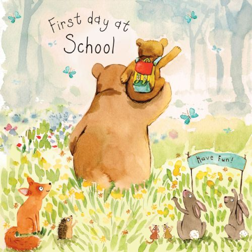 FIZ14 - First Day At School Card Bear